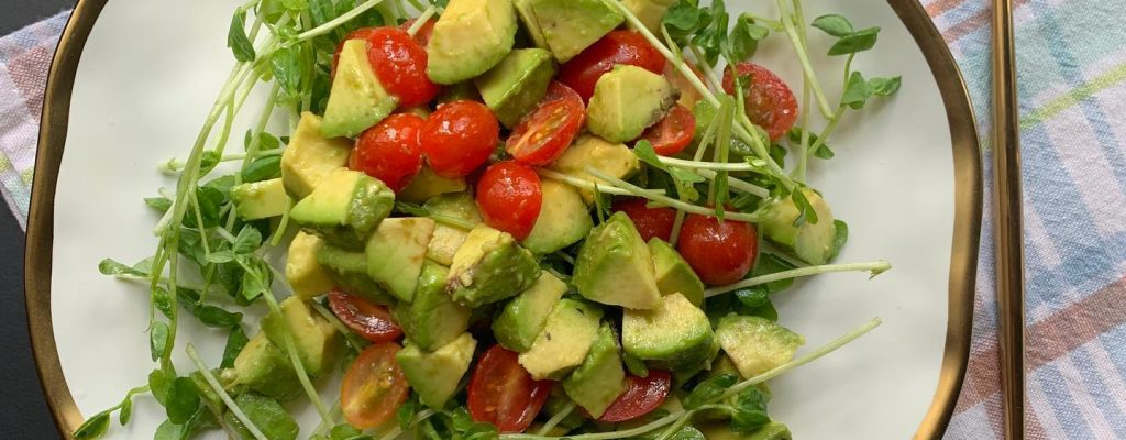 Healthy Breakfast – Organic Pea Sprouts and Avocado